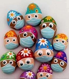 """Happy Easter to all my amazing colleagues working today and caring for our patients. Help them by staying at home today Stone Crafts, Rock Crafts, Fun Crafts, Crafts For Kids, Arts And Crafts, Pebble Painting, Dot Painting, Pebble Art, Stone Painting"