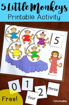 FREE 5 Little Monkeys activity for counting, learning numbers and number words. Great for toddlers, Rhyming Preschool, Nursery Rhymes Preschool, Rhyming Activities, Preschool Learning Activities, Free Preschool, Preschool Printables, Toddler Activities, Preschool Activities, Nursery Rhymes For Toddlers