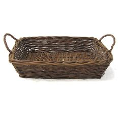 Red Willow Rectangular Tray Basket with Handles - Small 15in