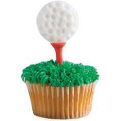 Tee Time Cupcakes - These fairway-fantastic cupcakes will drive many appreciative smiles. Attach fondant golf balls to lollipop stick tees, then add pull-out grass to cover the cupcakes.