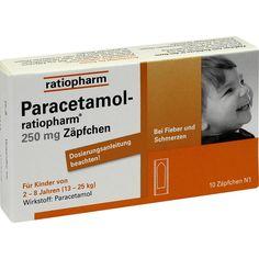 PARACETAMOL ratiopharm 250 mg Zäpfchen für Kleinkinder:   Packungsinhalt: 10 St Kleinkinder-Suppositorien PZN: 03953597 Hersteller:…