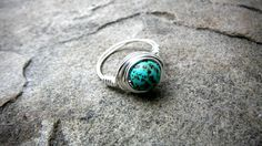 Blue Turquoise Ring Wire Wrapped Ring Blue Stone by CaravanOfBeads, $15.00