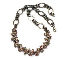 <p>Use spiral stitch, long Magatamas and a variety of seed beads to create a winding vine for the charming centerpiece of this necklace.