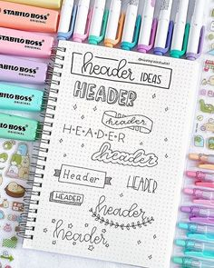 Header Ideas by Month for Your Bullet Journal Headers are an understated, yet huge part of bullet journaling. Check out these amazing bullet journal header ideas organized by month. Bullet Journal Inspo, Bullet Journal Headers, Bullet Journal Banner, Bullet Journal 2019, Bullet Journal Notebook, Bullet Journal Aesthetic, Bullet Journal Ideas Pages, Bullet Journals, Bullet Journal Design Ideas