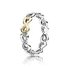 PANDORA Infinite Love ring consists of a delicate circle of glittery infinity symbols with a luxurious 14k gold sign being the focal point. Perfect for celebrating the strong bond between two people. #PANDORAring