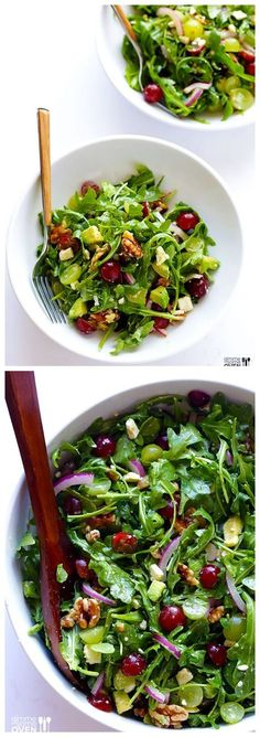 Grape, Avocado & Arugula Salad -- this simple salad is fresh, light, and full of wonderful sweet flavors you'll love salad salad salad recipes grillen rezepte zum grillen Arugula Salad Recipes, Healthy Salad Recipes, Vegetarian Recipes, Cooking Recipes, Simple Salad Recipes, Healthy Organic Recipes, Green Salad Recipes, Cooking Games, Vegan Recipes