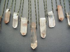 Rose Quartz Necklace: Raw Crystal Necklace Healing by Chrysalism