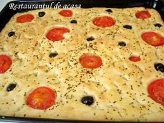 Focaccia cu rosii , masline si busuioc Dory, I Foods, Bread Recipes, Macaroni And Cheese, Ethnic Recipes, Breads, Meals, Mac And Cheese