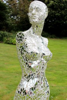 """Mirrorquin Mirrored Mannequin by Gill Knox by Mirrorquin on Etsy."" Craft project for the future garden. I may bring bad luck on myself attempting this one but it will be worth it I think."