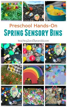 Preschool spring sensory bins - lots of fun play! Teaching 2 and 3 Year Olds