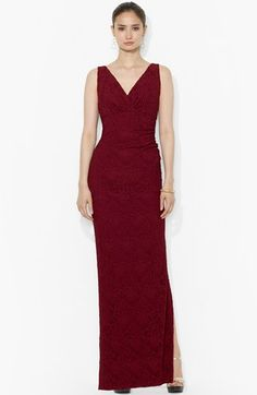 Lauren Ralph Lauren Lace Empire Column Gown (Regular & Petite) available at #Nordstrom