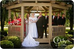 Wedding Party in gazebo at Lake Choctaw, London, Ohio - Are you or someone you know getting married in Ohio, check out Cindy's Photography for an experienced and affordable wedding photographer