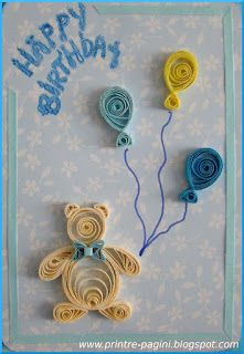 Quilled bear with balloons