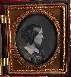 Circa mid-1850s sixth plate daguerreotype of a pretty woman posed at profile. CONDITION: Very Good with no scratches, wipes, spots, etc. A light film can be seen at the right center edge and along the left edge, likely the result of an old cleaning. | eBay!