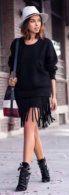 Everyday New Fashion : Black Fringed Sweater Dress by Vivaluxury
