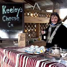 """So much great cheese at market this year.  Here is a selection of Keeley's Cheese including the wonderfully distinctive """"AQcross the Pond."""""""