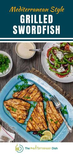 This quick grilled swordfish recipe takes on a delicious Mediterranean twist thanks to a simple olive oil marinade with fresh garlic and a trio of warm spices. This is a perfect summer recipe to share with family and friends! #swordfish #dinnerideas #partyfood Vegetarian Recipes Easy, Good Healthy Recipes, Clean Eating Recipes, Healthy Eating, Grilled Swordfish, Swordfish Recipes, Easy Mediterranean Recipes, Mediterranean Dishes, Healthy Meals For Kids