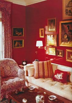 Brooke Astor's red lacquered walls