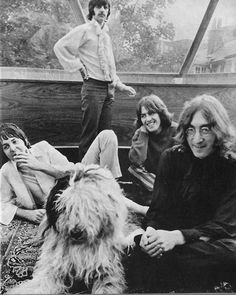 The Beatles with a fluffy dog | vintage photography | John Lennon | Ringo star with moustache | Paul McCartney | black & white vintage photography | band photo shoot | iconic | rock n roll | www.republicofyou.com.au