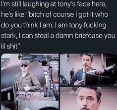 """I am Tony Fucking Stark, I am Iron Man. Calm down bitch"" -TS Avengers Humor, Funny Marvel Memes, Marvel Jokes, Dc Memes, The Avengers, Marvel Dc Comics, Funny Movie Memes, Image Hilarante, Marvel Actors"