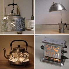 Re-purposed kitchen items into lighting fixtures.  love the coffee pot with circles!