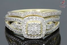 Solid 14K Yellow Gold Round Cut Diamond Bridal Engagement Ring Band Set 1.05 CT  #Bacio2jewel