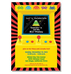 Retro Arcade Game Birthday Invitation  by invitationparlour