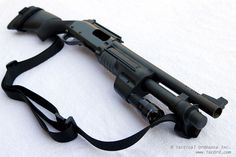 Remington 870 shotgun by Tactical Ordnance is customized using components from many different manufacturers of tactical accessories: VCS, Wilson Combat, Hogue, Mesa Tactical, Wilderness Tactical and others. Also, this company enhances finish of the all metal parts using Teflon coating.