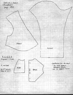 One size, scaled pattern for a Regency gown in silk twill. Pictured in the book Costume in Detail on page 372.