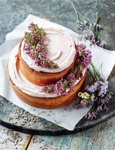 Wedding Cakes : photo: Danielle Wood | Featured Dessert: Cooked.; Lavender layer cake with a rus