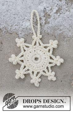 Snow crystal / DROPS Extra - free crochet patterns by DROPS design- Crochet Snowflake Pattern, Crochet Stars, Crochet Snowflakes, Crochet Flowers, Crochet Birds, Crochet Animals, Crochet Christmas Ornaments, Christmas Crochet Patterns, Holiday Crochet