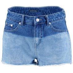 Boohoo Marty Ombre Dye Denim Shorts (490 MXN) ❤ liked on Polyvore featuring shorts, hot short shorts, micro shorts, denim jean shorts, denim culottes and jean shorts