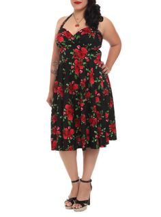 Black+dress+with+red+rose+design,+sweetheart+neckline,+fitted+bodice+and+a+full+swing+skirt.