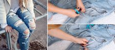 How to make ripped jeans? 3 steps in gifs #ripped #jeans #summer #diy #step #by #step