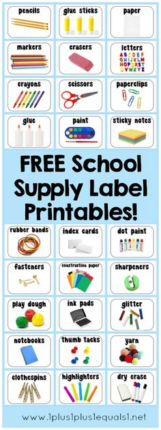 School Supply Labels ~ FREE printables, over 40 supplies and you can print only those that you need AND the size you desire! www.1plus1plus1equals1.net