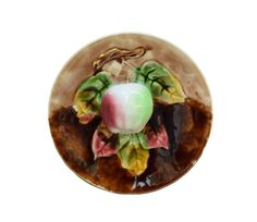 French Antique Orchies Majolica Apple Wall Plate - Palissy Fruits Plate c 1900 - Moulin des Loups FAience - French Kitchen Plate