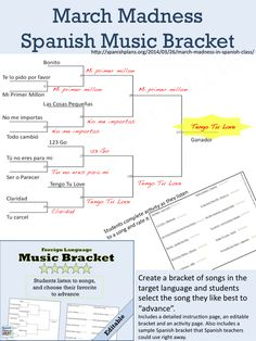 One of our favorite March lessons. Using a elimination bracket, students listen to songs in the target language and choose their favorite to advance. March Madness Music Bracket for Spanish class.