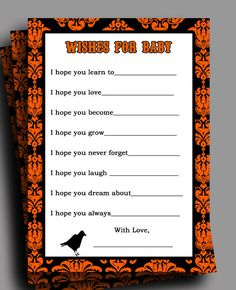 Printable halloween baby shower invitations and templates halloween baby shower wishes printable instant by thatpartychick 650 filmwisefo