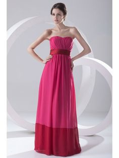 Chiffon Sweetheart Column Floor Length Sash Prom Dress