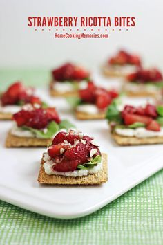 Strawberry Ricotta Bites -- an easy snack or appetizer that you can make in less than 30 minutes.