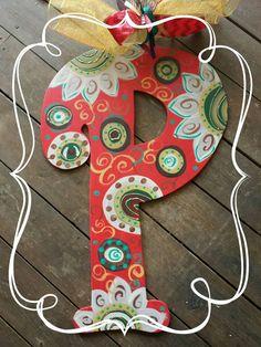 Colorful Custom Letter/initial Wooden Door by SimplyShabbyByBella Teacher Door Hangers, Letter Door Hangers, Initial Door Hanger, Cross Door Hangers, Burlap Door Hangers, Door Plaques, Big Wooden Letters, Painting Wooden Letters, Painted Letters