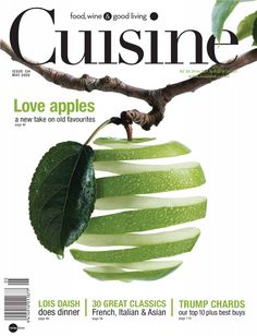 This magazine cover is very clean and simple with the very vivid image of the apple--you can almost taste it. I like the way the branch scoops the masthead and the over coverlines are placed underneath main image.