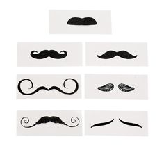 """Life-size Mustache Tattoo Assortment 12ct. Easy to apply and remove. Safe and non-toxic. Made of paper. Measures 4"""" x 1 1/2"""". Designs in assortments may vary."""