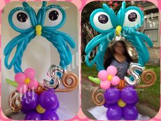 Owl balloon photo frame, party frame, balloon sculpture