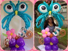 Owl balloon photo frame, party frame, balloon sculpture