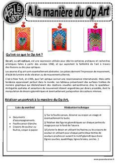 In the manner of op art – Optical art – Portraits – – – – – Visual arts – Cycle 3 Middle School Art, Art School, Lessons For Kids, Art Lessons, Art History Memes, Principles Of Art, Illusion Art, Teaching Art, Portrait Art