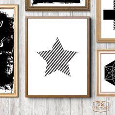Star print, nursery, Stars art, stripes, printable nursery, striped pattern, nursery wall art, Scandinavian nursery, black and white art