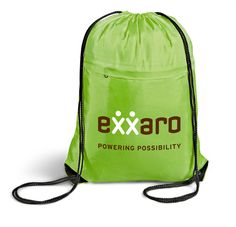 Lime Green Drawsting Bag - Great for use as a gym bag or light backpack. Corporate Gifts Sandton supplies these bags in Johannesburg