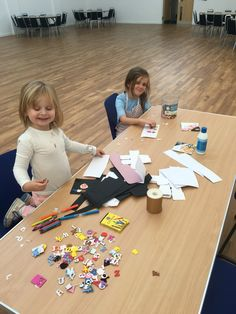 Craft table out. Dolly and Tianna