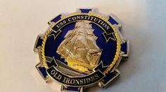 USS CONSTITUTION HERITAGE BLUE VERSION CPO CHIEF MESS CHALLENGE COIN